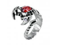 Кольцо стальное «Скорпион с камнем»