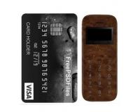 Мини-телефон кнопочный SOYES M11, коричневая кожа