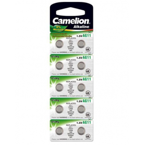Батарейка алкалиновая Camelion AG11-10BL (362A/LR721/162), для часов, блистер, 10шт