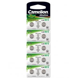 Батарейка алкалиновая Camelion AG12-10BL (386A/LR43/186), для часов, блистер, 10шт