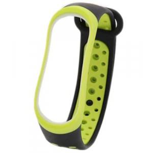 Сменный силиконовый ремешок для Фитнес-Браслета Xiaomi Mi Band 3 черный/зеленый