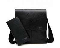 Мужская сумка планшет Jeep Buluo + портмоне, черный