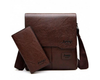 Мужская сумка планшет Jeep Buluo + портмоне, коричневый