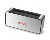 Портативная Bluetooth колонка с часами K300, серебро
