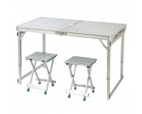Стол туристический cкладной + 2 стула, 120х60х55-70 см (серый)