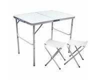 Стол туристический cкладной Folding Table + 2 стула, 90х60х70 см (серый)