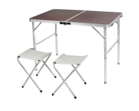 Стол туристический cкладной Folding Table + 2 стула, 90х60х70 см (коричневый)