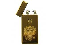 Зажигалка электроимпульсная USB Cheng Dong Cheng Герб России, Gold