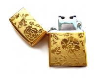 Зажигалка электроимпульсная USB Lighter Eagle Gold (Цветы)