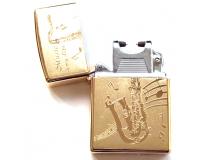 Зажигалка электроимпульсная USB Lighter Eagle Gold (Саксофон)
