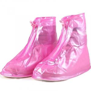 Защитные многоразовые чехлы пончи с подошвой для обуви от дождя и грязи размер S (Розовый)