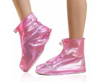 Чехлы пончи для обуви от дождя и грязи с подошвой размер L (Розовый)