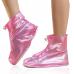 Защитные многоразовые чехлы пончи с подошвой для обуви от дождя и грязи размер L (Розовый)