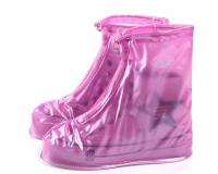 Чехлы пончи для обуви от дождя и грязи с подошвой размер XL (Розовый)