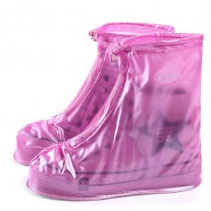Защитные многоразовые чехлы пончи с подошвой для обуви от дождя и грязи размер XL (Розовый)