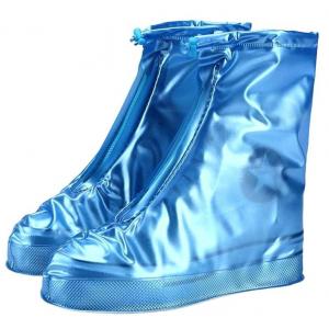 Защитные многоразовые чехлы пончи с подошвой для обуви от дождя и грязи размер XL (Синий)