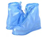 Чехлы пончи для обуви от дождя и грязи с подошвой размер 2XL (Синий)