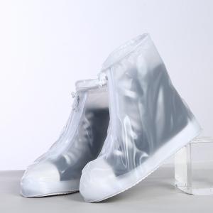 Защитные многоразовые чехлы пончи с подошвой для обуви от дождя и грязи размер XL (Белый)