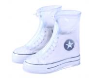 Чехлы пончи для обуви от дождя и грязи с подошвой размер L (Белый)