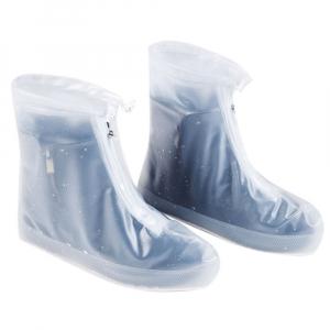 Защитные многоразовые чехлы пончи с подошвой для обуви от дождя и грязи размер 2XL (Белый)