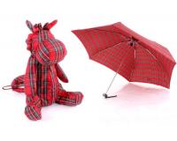 Детский мини зонтик в чехле игрушке Бегемотик, красный