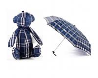 Детский мини зонтик в чехле игрушке Медвежонок, синий