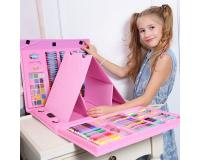 Художественный набор для рисования Super Mega Art Set 208 предметов с мольбертом, розовый