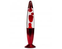 Лава-лампа 41см Хром Красная/Прозрачная (Воск)