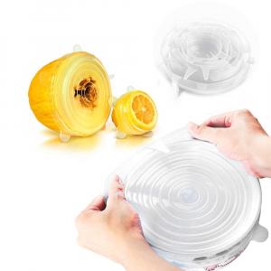 Набор из силиконовых герметичных крышек для посуды Silicone Sealing Lids, 6 шт (Белый)