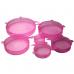 Набор из силиконовых герметичных крышек для посуды Silicone Sealing Lids, 6 шт (Розовый)