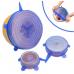 Набор из силиконовых герметичных крышек для посуды Silicone Sealing Lids, 6 шт (Синий)