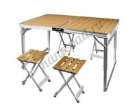 Стол туристический cкладной + 4 стула, 110х70х55-70 см (бамбук)