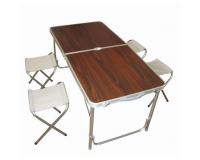 Стол туристический cкладной + 4 стула, 120х60х55-70 см (коричневый)