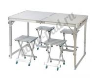 Стол туристический cкладной + 4 стула, 120х60х55-70 см (серебристый)