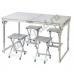 Стол со складными ножками для кемпинга (походный) + 4 стула, размер стола 120х60х55-70 см (серебристый)