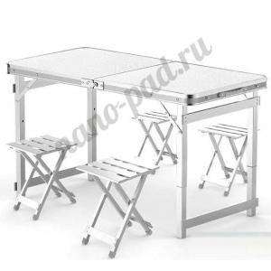 Стол со складными ножками для кемпинга (походный) + 4 стула, размер стола 120х60х55-70 см (серо-серебристый)