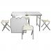 Стол со складными ножками для кемпинга (походный) + 4 стула, размер стола 120х60х55-70 см (серый)