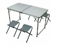 Стол туристический cкладной + 4 стула, 120х60х55-70 см (серый)