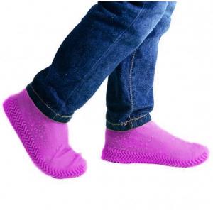 Защитные многоразовые водонепроницаемые силиконовые бахилы для обуви, размер L (42-45) розовые