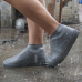 Защитные многоразовые водонепроницаемые силиконовые бахилы для обуви, размер L (42-45) серые