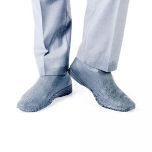 Защитные многоразовые водонепроницаемые силиконовые бахилы для обуви, размер M (37-41) серые