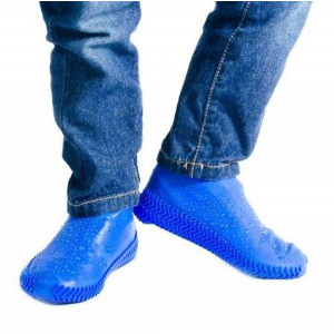 Защитные многоразовые водонепроницаемые силиконовые бахилы для обуви, размер L (42-45) синие