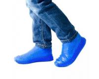 Водонепроницаемые силиконовые бахилы для обуви, размер M (37-41) синие