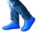 Защитные многоразовые водонепроницаемые силиконовые бахилы для обуви, размер M (37-41) синие