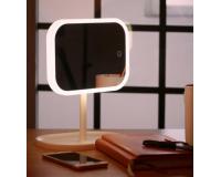 Зеркало настольное косметическое со светодиодной подсветкой, белое