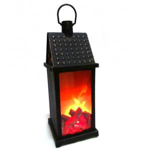 Декоративный светодиодный светильник с имитацией пламени, 38х13х13 см