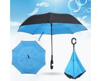 """Зонт наоборот (зонт обратного сложения) """"Голубой"""""""