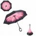 """Ветрозащитный зонт-трость обратного сложения (зонт наоборот) """"Розовый цветок"""", С-образная ручка"""