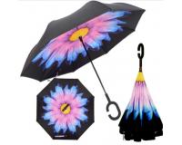 "Зонт наоборот (зонт обратного сложения) ""Синий цветок"""