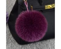 Брелок Пушистый шарик цвет: Бордовый